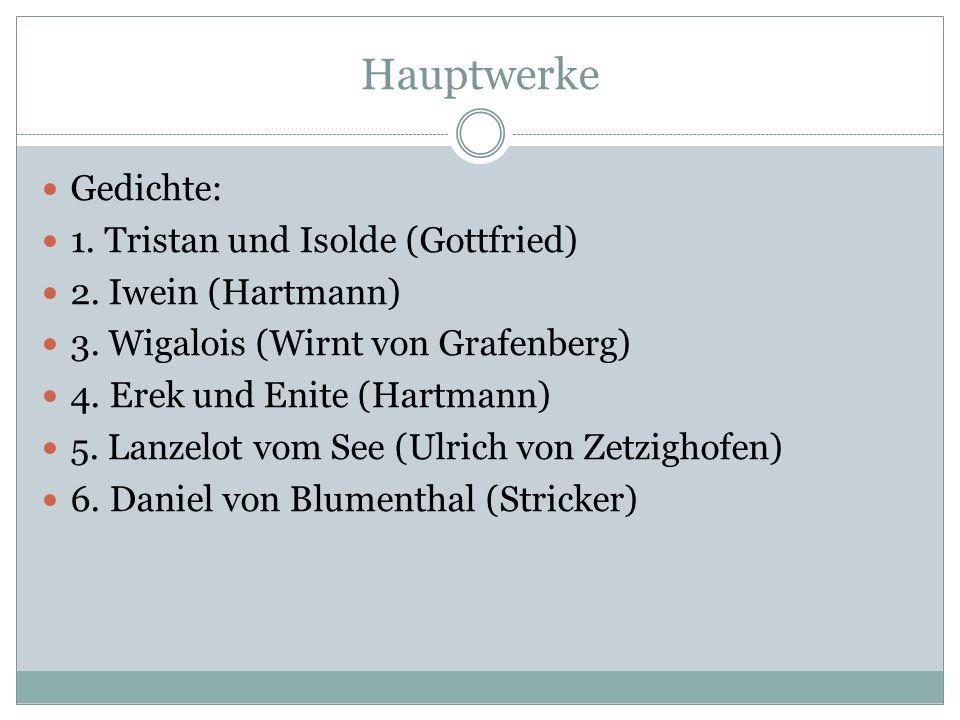 Hauptwerke Sagenkreis Karls des Großen: 1. Flos und Blankflos (um 1230) 2. Das Rolandslied (um 1175) 3. Wilhelm von Oranse (um 1218) Sagenkreis des He