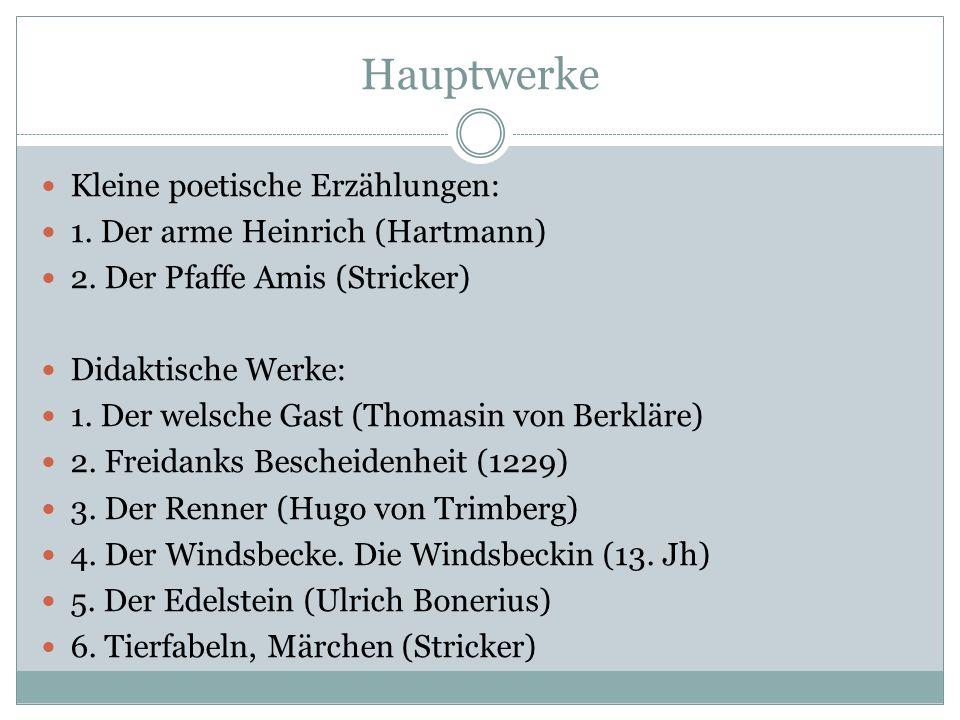Hauptwerke Chroniken: 1. Die Reimchronik (Ottokar von Hornek) 2. Die Weltchroniken (Rudolf von Hohenems) 3. Das Annolied 4. Die Kaiserchronik Geistlic
