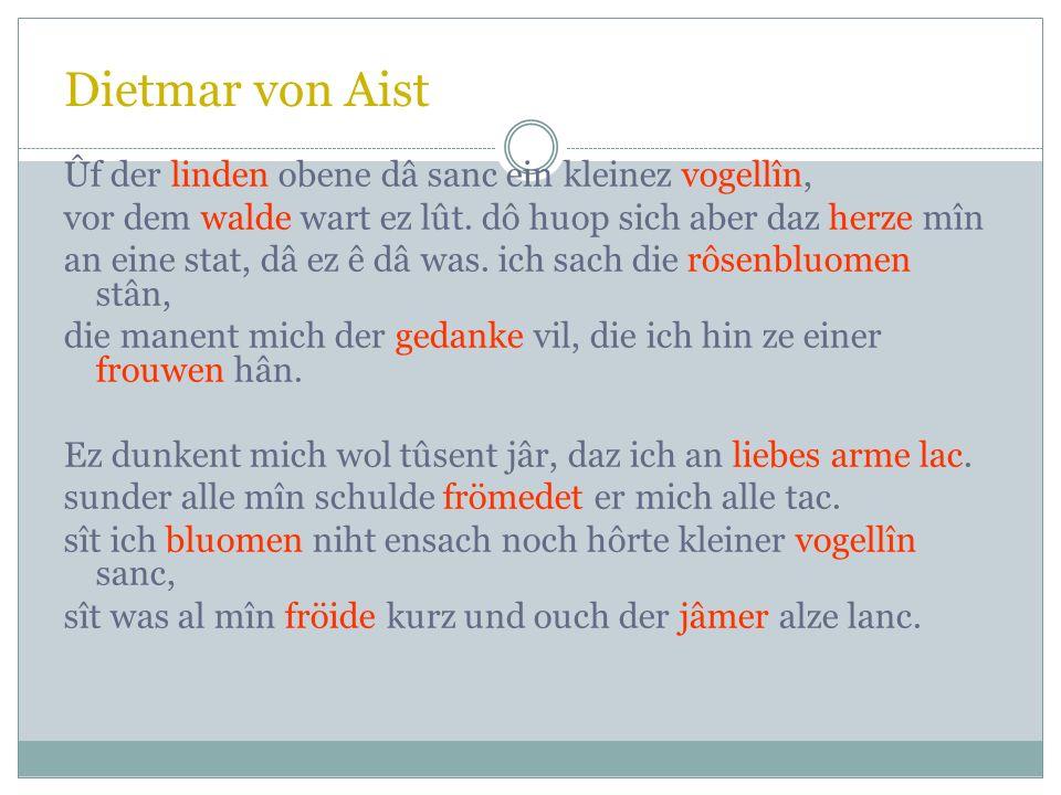 Dietmar von Aist Hei nû kumet uns diu zît Hei nû kumet uns diu zît, der kleinen vogellîne sanc. ez gruonet wol diu linde breit, zergangen ist der wint
