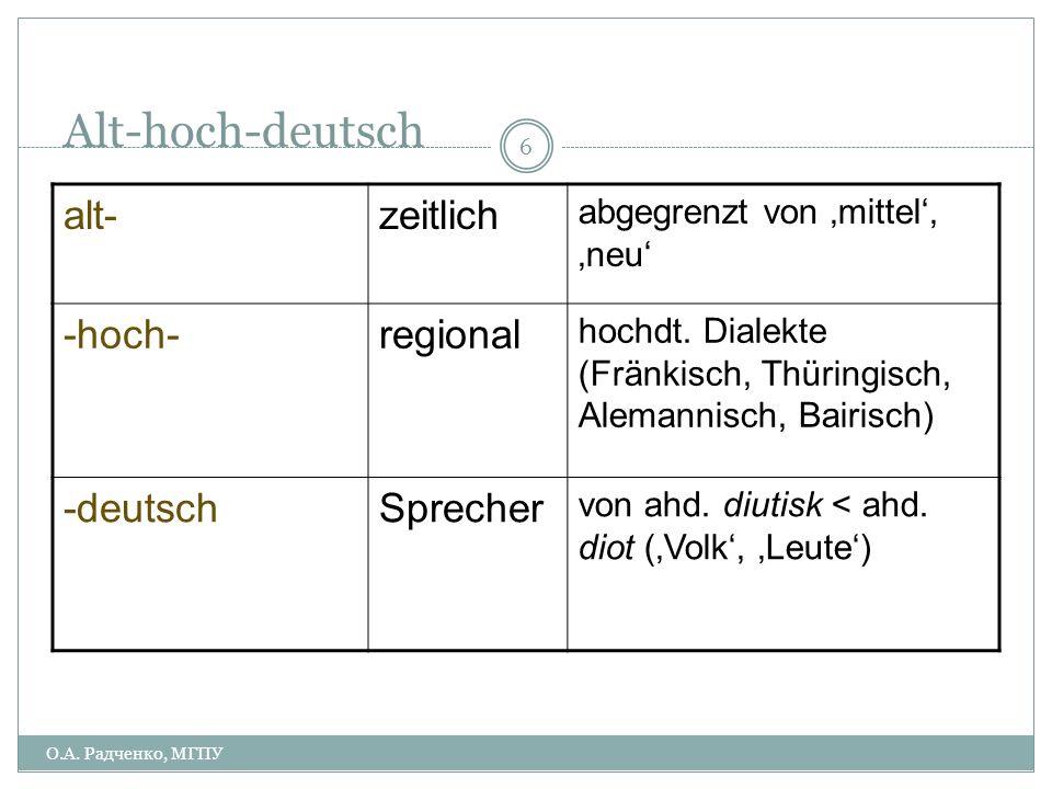 Epochen der Sprachgeschichte ca. 750 ca. 1050 ca. 1350 ca. 1500 ca. 1650 ca 1700 althochdeutsch mittelhochdeutsch frühneuhochdeutsch neuhochdeutsch О.