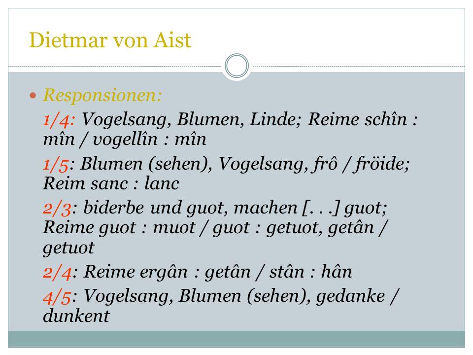 Dietmar von Aist Vorschläge: 1-2 = Wechsel (Str.l: Frauen-, Str.2 Männerstrophe: O. Sayce) 1-2-3 (Str. 3 äußerlich angefügt: v. Kraus; enger zugehörig