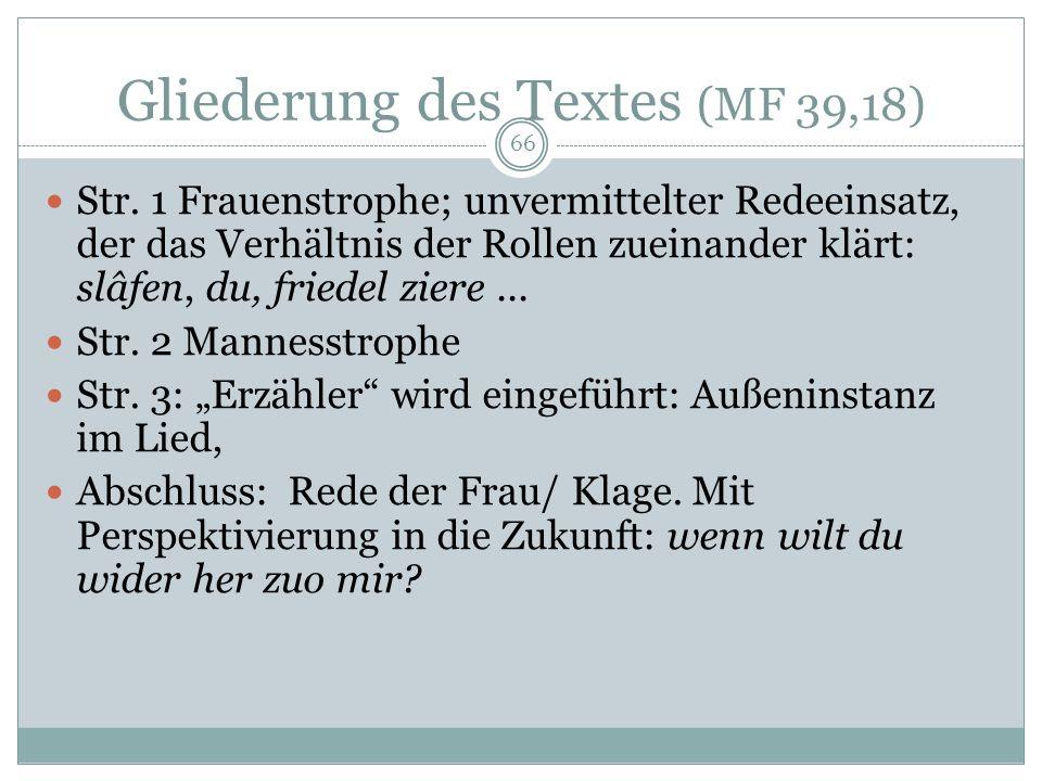 65 Dietmars von Eist Tagelied (MF 39,18) Handwerk friedel stm. Freund, Geliebter (Wort mit hohem emotionalem Bedeutungswert) ziere schön; nachgestellt