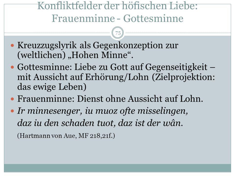 74 Das Konzept der Hohen Minne Konzept der frz. und dt. Liebeslyrik um 1170, gültig bis in die Neuzeit. Verehrung einer (ungenannten) vrouwe (Herrin,