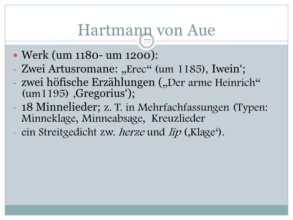 Hartmann von Aue * um 1160 + nach 1210 Sein Leben: Über den schwäbisch alemannischen Ritter ist wenig bekannt. Aus einem Ministerialengeschlecht im dt