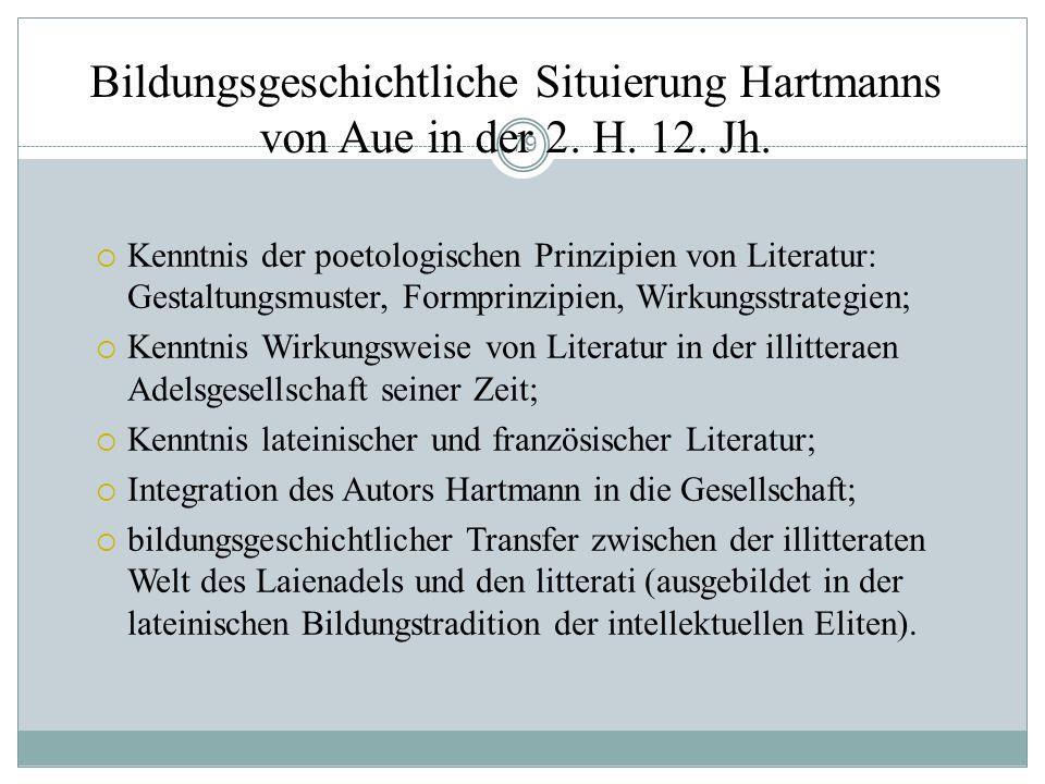 78 Selbstzeugnis Hartmanns von Aue: Der Prolog des,Armen Heinrich Ein ritter sô gelêret was, daz er an den buochen las, swaz er daran geschriben vant;