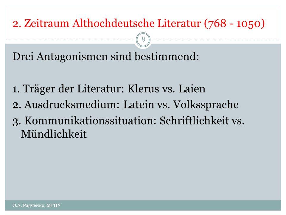 Epochen der Literaturgeschichte ca. 750 ca. 1050 ca. 1300 ca. 1500 ca 1700 althochdeutsche Literatur Literatur im frühen Mittelalter mittelhochdeutsch