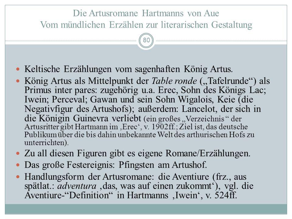 79 Bildungsgeschichtliche Situierung Hartmanns von Aue in der 2. H. 12. Jh. Kenntnis der poetologischen Prinzipien von Literatur: Gestaltungsmuster, F