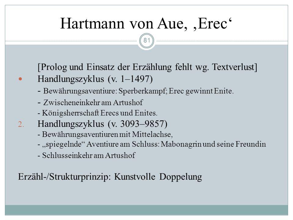 80 Die Artusromane Hartmanns von Aue Vom mündlichen Erzählen zur literarischen Gestaltung Keltische Erzählungen vom sagenhaften König Artus. König Art