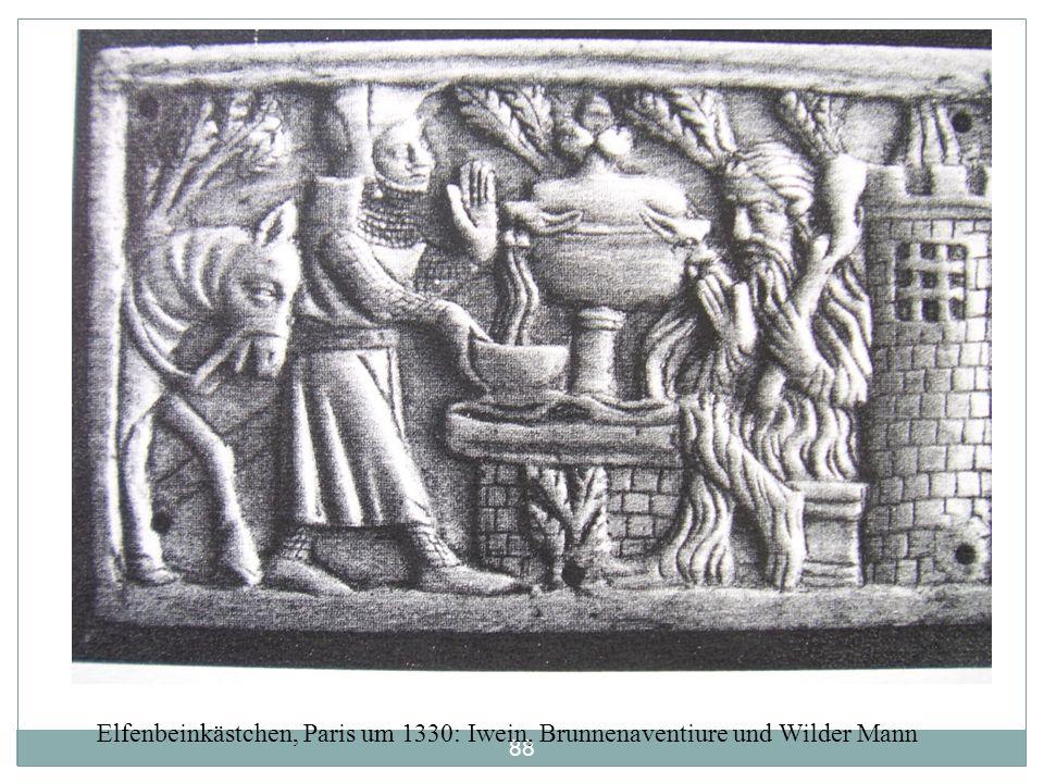87 Iwein: I. Handlungszyklus Pfingstfest am Artushof. Handlungsauslösung: Kalogrenants Erzählung seiner Brunnen-Aventiure. Ausritt Iweins – Sieg über