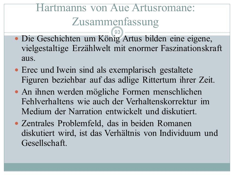 92 Iwein: Zusammenfassung Brunnen-Aventiure: zur Mehrung des eigenen Ruhms. Fristversäumnis: Versagen vor der Minne- und Herrschaftsverpflichtung. Kri