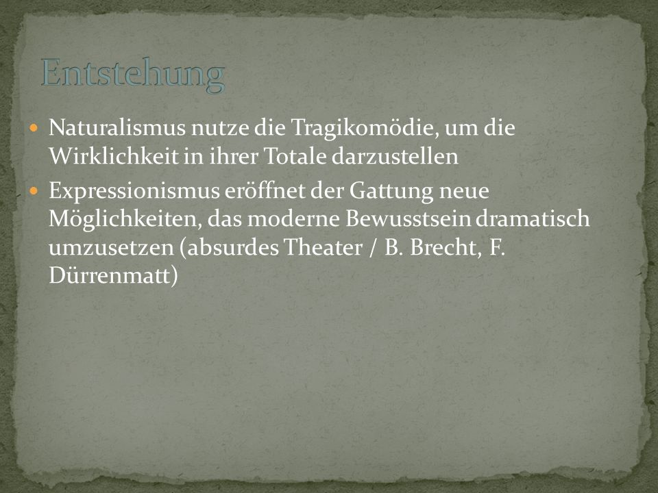 Funktion: Wirklichkeit + echte Gefühle abbilden; Gegenwartsprobleme statt seichter Unterhaltung Form: neue Schauspielkunst, Moskauer Künstlertheater,