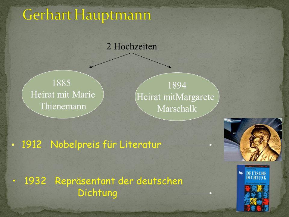 (Einer der wichtigsten Vertreter des Naturalismus) 15.11.1863 in Obersalzbrunn (Schlesien) geboren. Besuch in einer Realschule in Breslau tätig im Gas