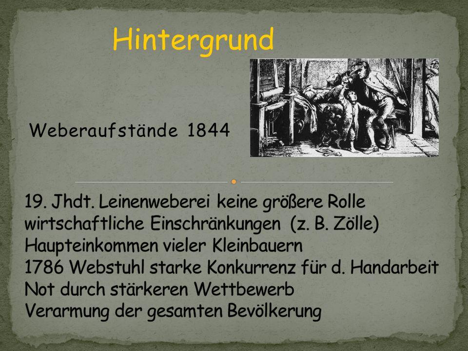 Hauptpersonen: Bäcker Moritz Jäger Alte Wittig Typische Weberfamilie: Baumert Hilse