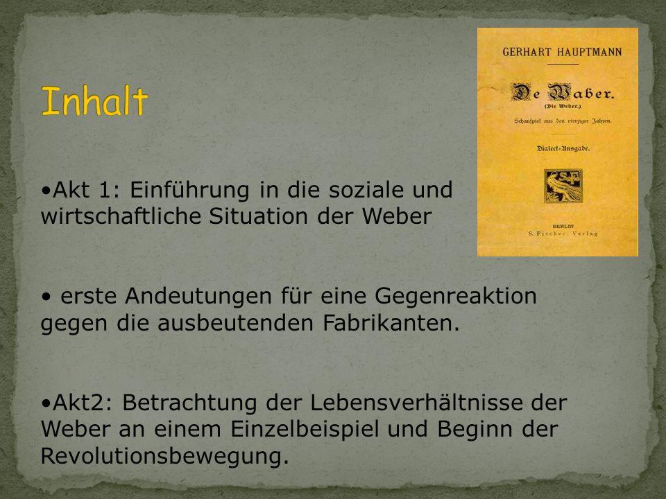 schlesische Dialekt = Ausdruck des Milieus des Charakters der Weber Zuge- hörigkeits- gefühl derer, die Hochdeutsch sprechen, um sich von Webern zu un