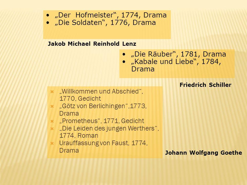 Willkommen und Abschied, 1770, Gedicht Götz von Berlichingen,1773, Drama Prometheus, 1771, Gedicht Die Leiden des jungen Werthers, 1774, Roman Urauffa
