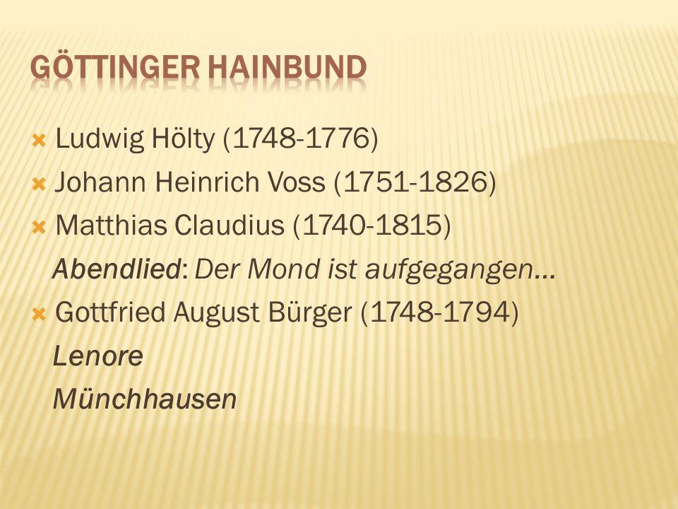 Ludwig Hölty (1748-1776) Johann Heinrich Voss (1751-1826) Matthias Claudius (1740-1815) Abendlied: Der Mond ist aufgegangen… Gottfried August Bürger (