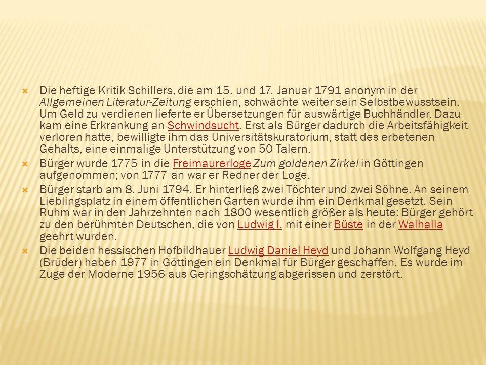 Die heftige Kritik Schillers, die am 15. und 17. Januar 1791 anonym in der Allgemeinen Literatur-Zeitung erschien, schwächte weiter sein Selbstbewusst