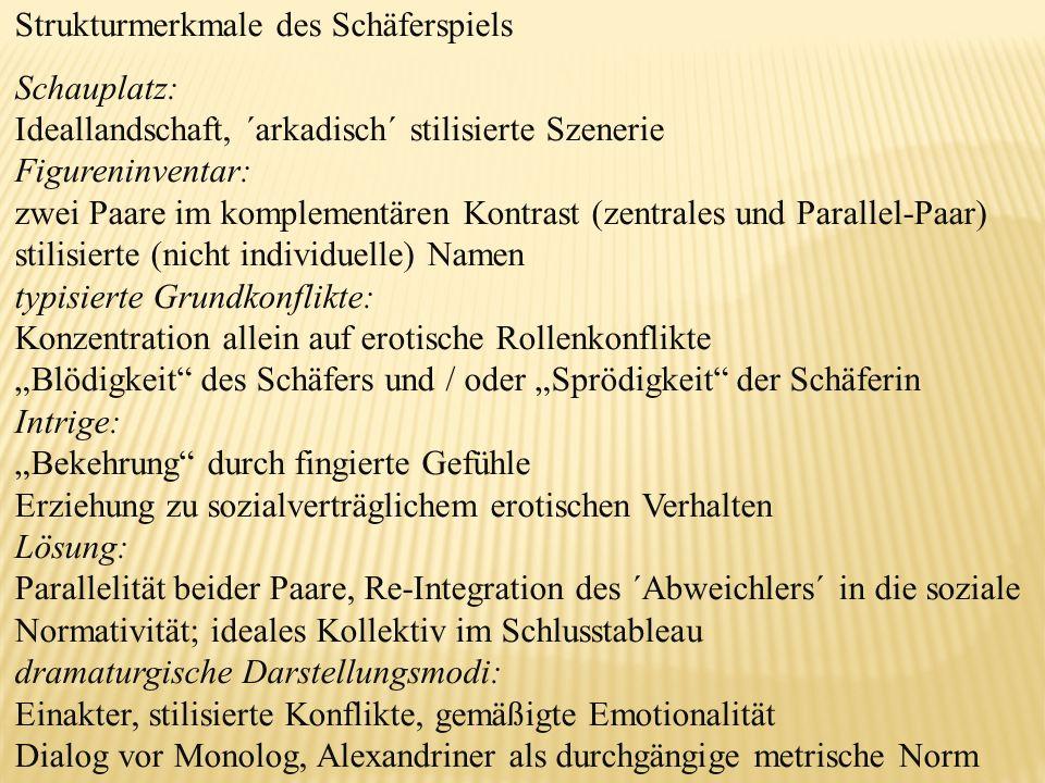 Strukturmerkmale des Schäferspiels Schauplatz: Ideallandschaft, ´arkadisch´ stilisierte Szenerie Figureninventar: zwei Paare im komplementären Kontras