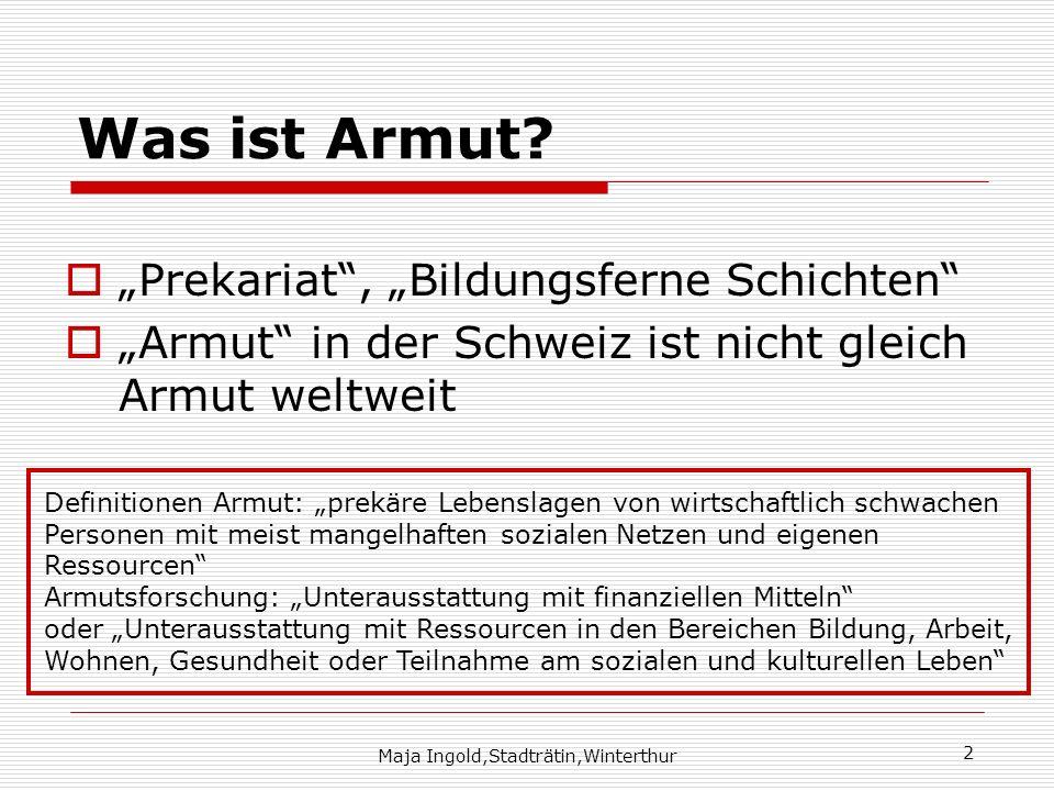 Maja Ingold,Stadträtin,Winterthur 2 Was ist Armut? Prekariat, Bildungsferne Schichten Armut in der Schweiz ist nicht gleich Armut weltweit Definitione