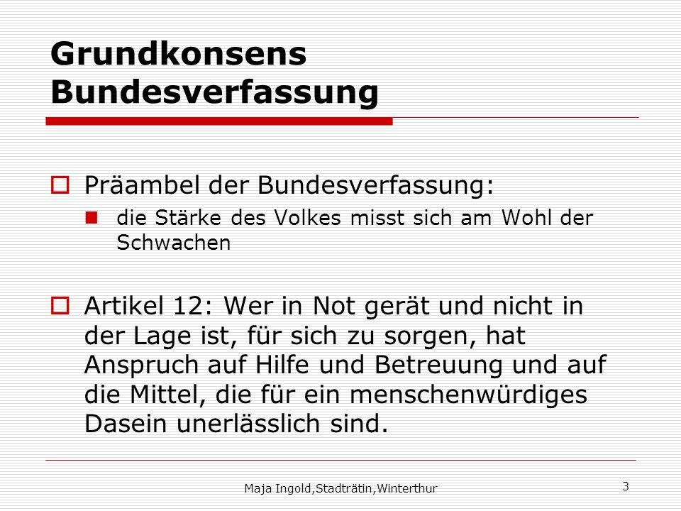 Maja Ingold,Stadträtin,Winterthur 3 Grundkonsens Bundesverfassung Präambel der Bundesverfassung: die Stärke des Volkes misst sich am Wohl der Schwache