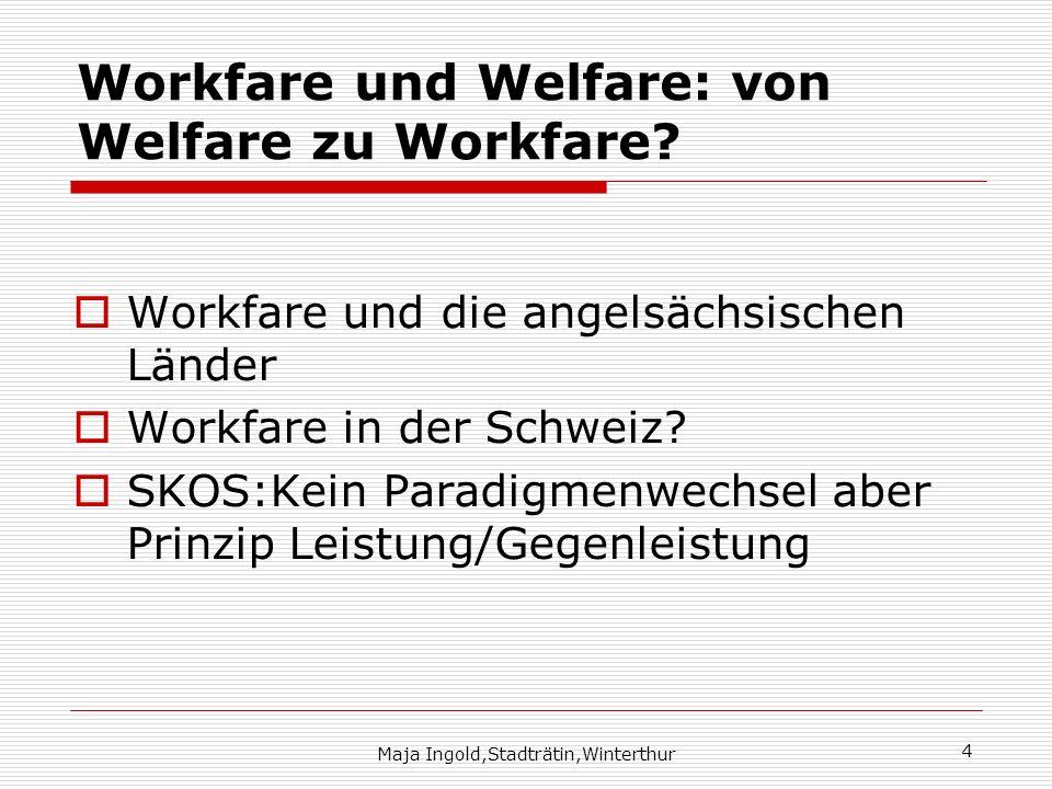 Maja Ingold,Stadträtin,Winterthur 4 Workfare und Welfare: von Welfare zu Workfare? Workfare und die angelsächsischen Länder Workfare in der Schweiz? S