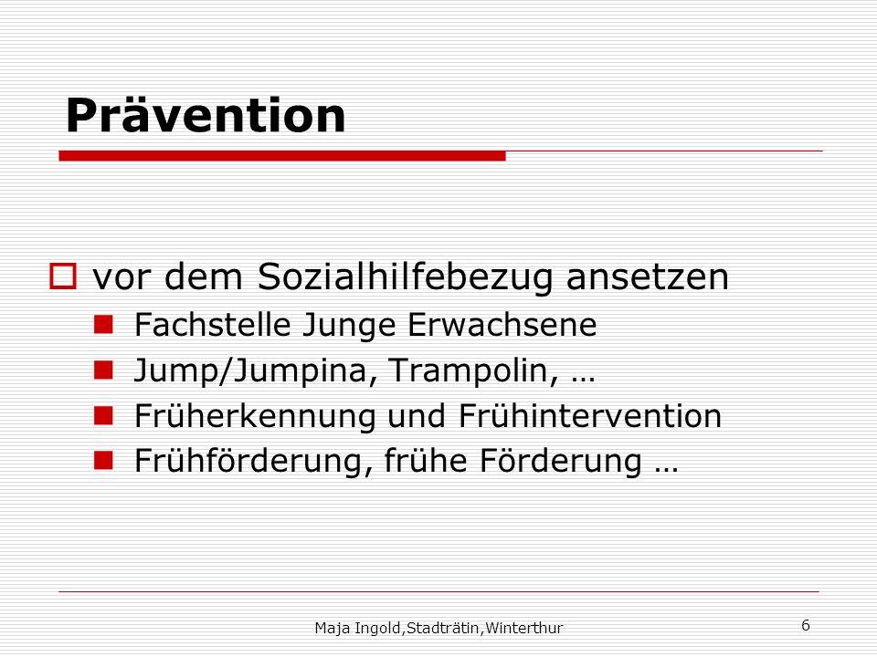 Maja Ingold,Stadträtin,Winterthur 6 Prävention vor dem Sozialhilfebezug ansetzen Fachstelle Junge Erwachsene Jump/Jumpina, Trampolin, … Früherkennung