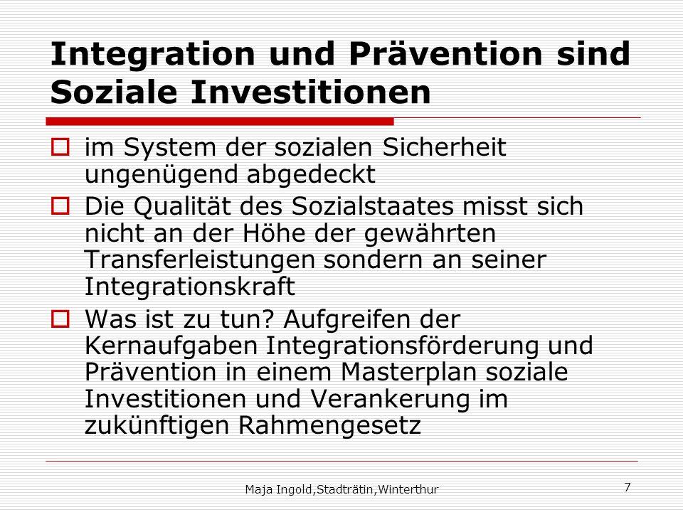 Maja Ingold,Stadträtin,Winterthur 7 Integration und Prävention sind Soziale Investitionen im System der sozialen Sicherheit ungenügend abgedeckt Die Q