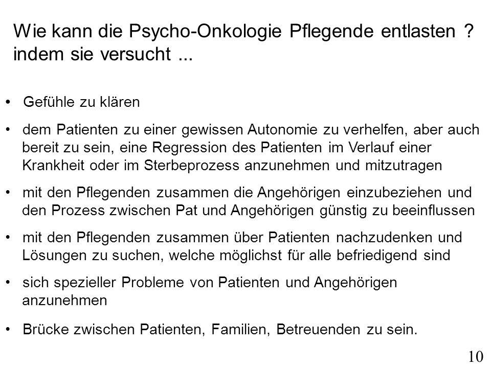 Wie kann die Psycho-Onkologie Pflegende entlasten .