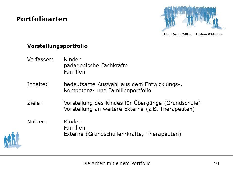 Bernd Groot-Wilken - Diplom-Pädagoge Die Arbeit mit einem Portfolio10 Portfolioarten Vorstellungsportfolio Verfasser:Kinder pädagogische Fachkräfte Fa