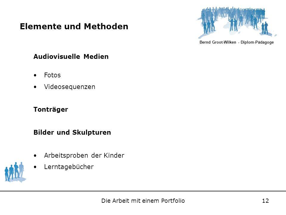 Bernd Groot-Wilken - Diplom-Pädagoge Die Arbeit mit einem Portfolio12 Elemente und Methoden Audiovisuelle Medien Fotos Videosequenzen Tonträger Bilder