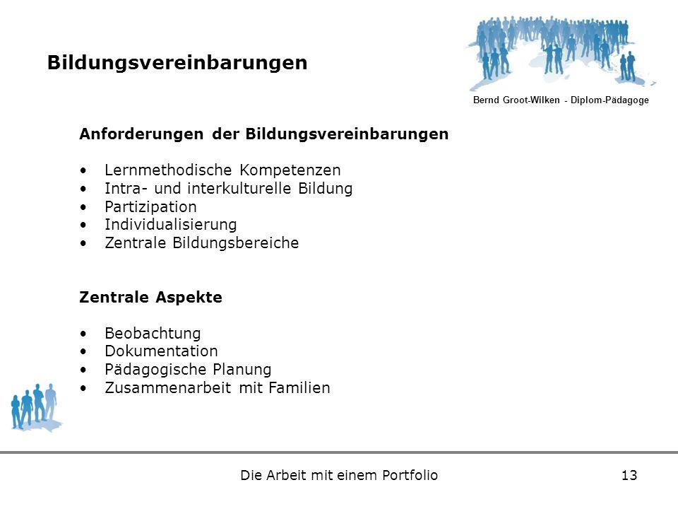 Bernd Groot-Wilken - Diplom-Pädagoge Die Arbeit mit einem Portfolio13 Bildungsvereinbarungen Anforderungen der Bildungsvereinbarungen Lernmethodische