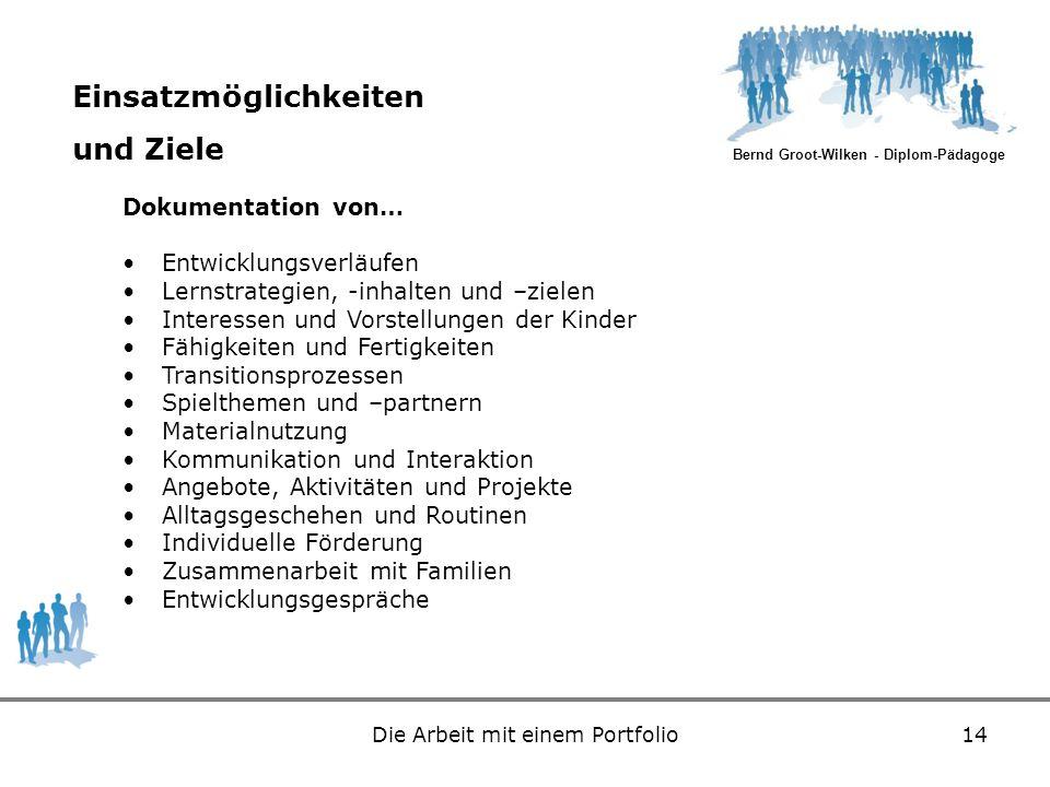 Bernd Groot-Wilken - Diplom-Pädagoge Die Arbeit mit einem Portfolio14 Einsatzmöglichkeiten und Ziele Dokumentation von… Entwicklungsverläufen Lernstra