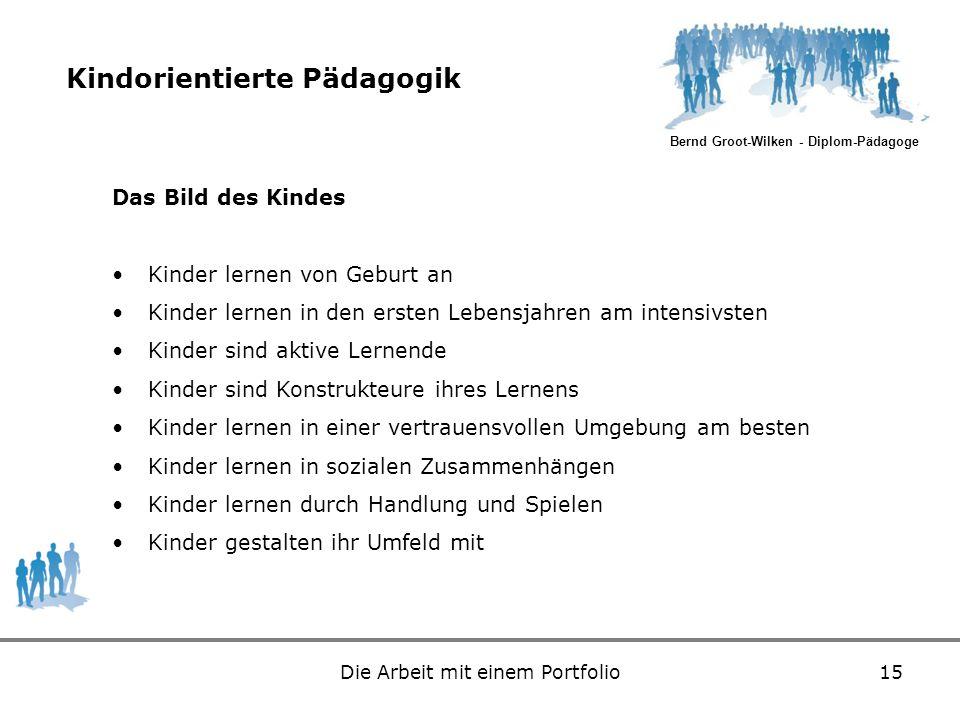 Bernd Groot-Wilken - Diplom-Pädagoge Die Arbeit mit einem Portfolio15 Kindorientierte Pädagogik Das Bild des Kindes Kinder lernen von Geburt an Kinder