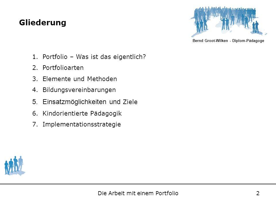 Bernd Groot-Wilken - Diplom-Pädagoge Die Arbeit mit einem Portfolio2 Gliederung 1.Portfolio – Was ist das eigentlich? 2.Portfolioarten 3.Elemente und