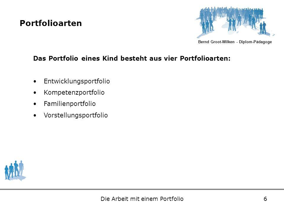 Bernd Groot-Wilken - Diplom-Pädagoge Die Arbeit mit einem Portfolio6 Portfolioarten Das Portfolio eines Kind besteht aus vier Portfolioarten: Entwickl