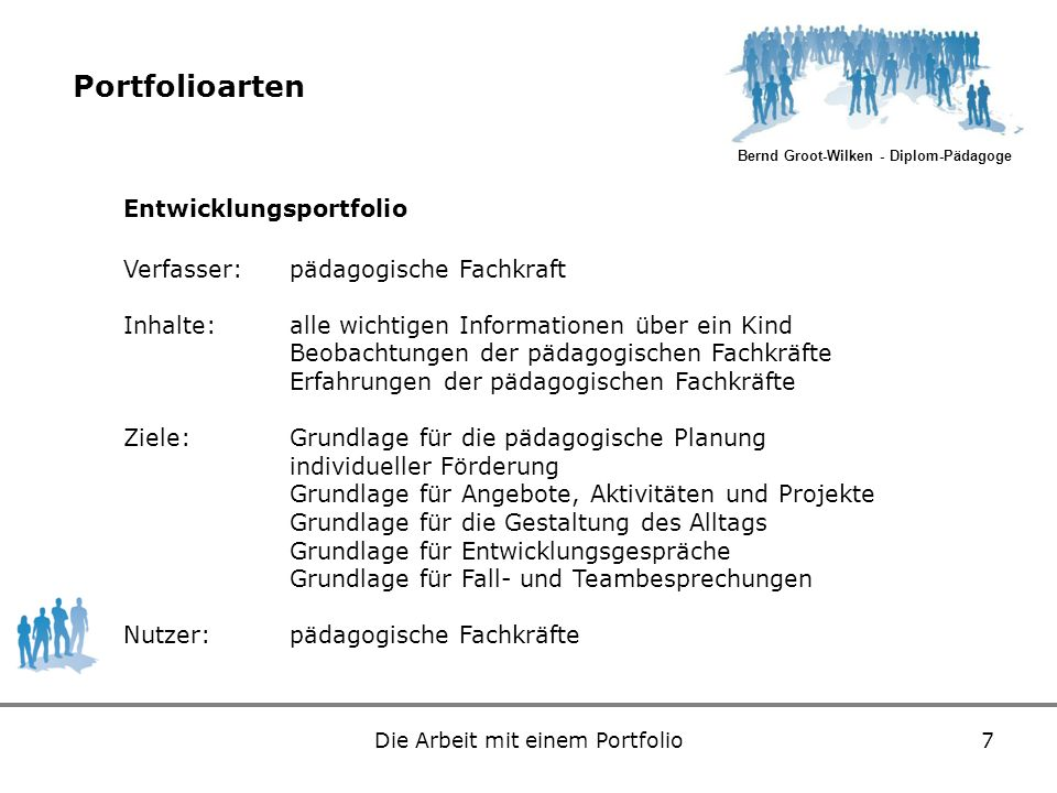 Bernd Groot-Wilken - Diplom-Pädagoge Die Arbeit mit einem Portfolio7 Portfolioarten Entwicklungsportfolio Verfasser:pädagogische Fachkraft Inhalte:all