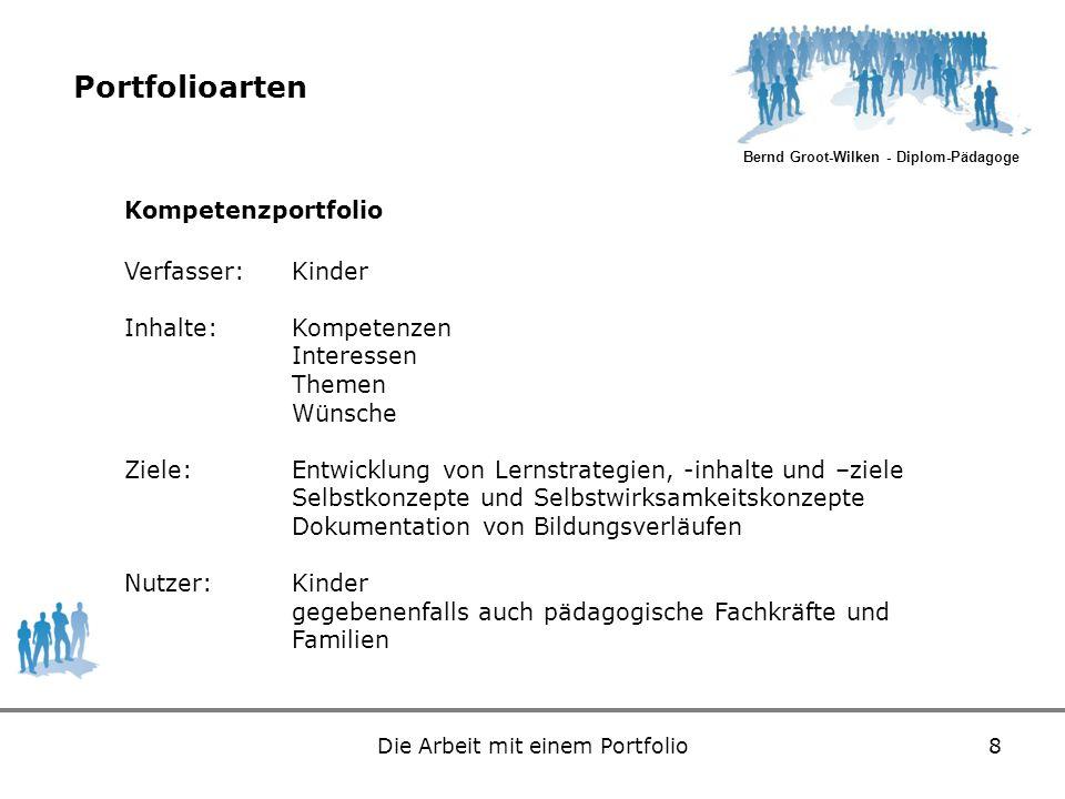 Bernd Groot-Wilken - Diplom-Pädagoge Die Arbeit mit einem Portfolio8 Portfolioarten Kompetenzportfolio Verfasser:Kinder Inhalte:Kompetenzen Interessen