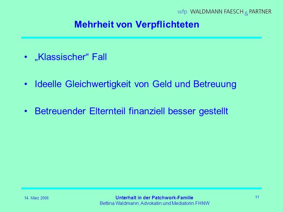 14. März 2006 Unterhalt in der Patchwork-Familie Bettina Waldmann, Advokatin und Mediatorin FHNW 11 Mehrheit von Verpflichteten Klassischer Fall Ideel