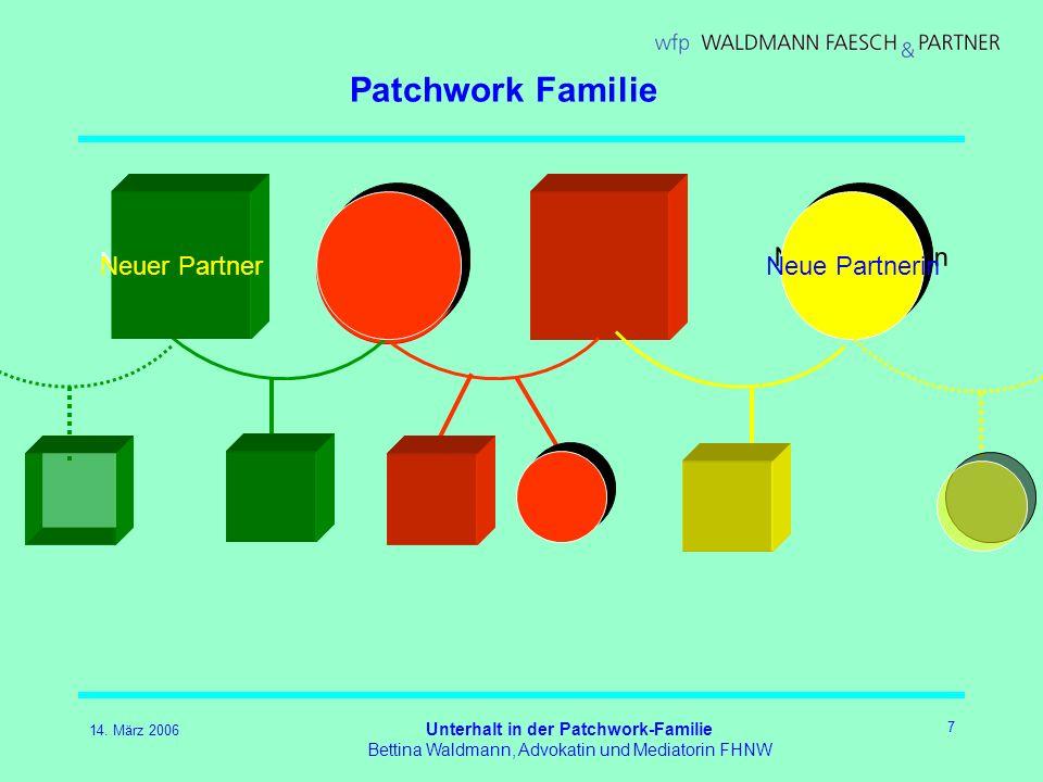 14. März 2006 Unterhalt in der Patchwork-Familie Bettina Waldmann, Advokatin und Mediatorin FHNW 7 Patchwork Familie Neue Partnerin Neuer Partner