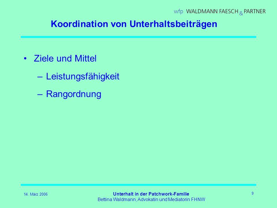 14. März 2006 Unterhalt in der Patchwork-Familie Bettina Waldmann, Advokatin und Mediatorin FHNW 9 Koordination von Unterhaltsbeiträgen Ziele und Mitt