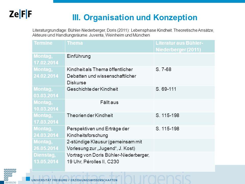 III. Organisation und Konzeption TermineThema Literatur aus Bühler- Niederberger (2011) Montag, 17.02.2014 Einführung Montag, 24.02.2014 Kindheit als
