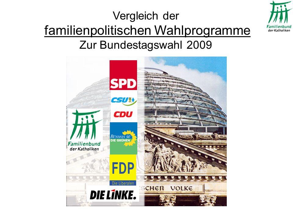 Vergleich der familienpolitischen Wahlprogramme Zur Bundestagswahl 2009