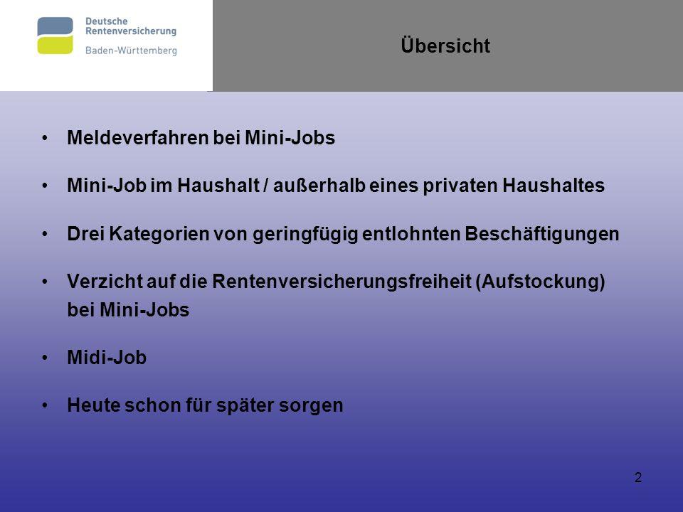 2 Übersicht Meldeverfahren bei Mini-Jobs Mini-Job im Haushalt / außerhalb eines privaten Haushaltes Drei Kategorien von geringfügig entlohnten Beschäf