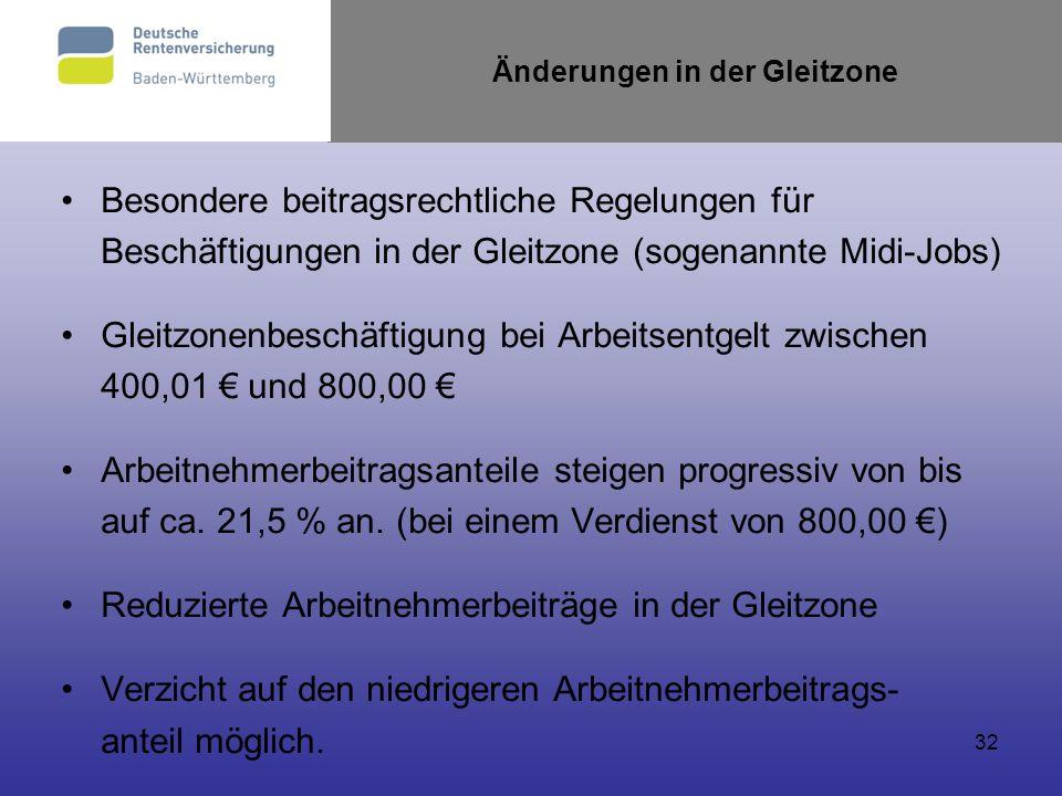 32 Änderungen in der Gleitzone Besondere beitragsrechtliche Regelungen für Beschäftigungen in der Gleitzone (sogenannte Midi-Jobs) Gleitzonenbeschäfti