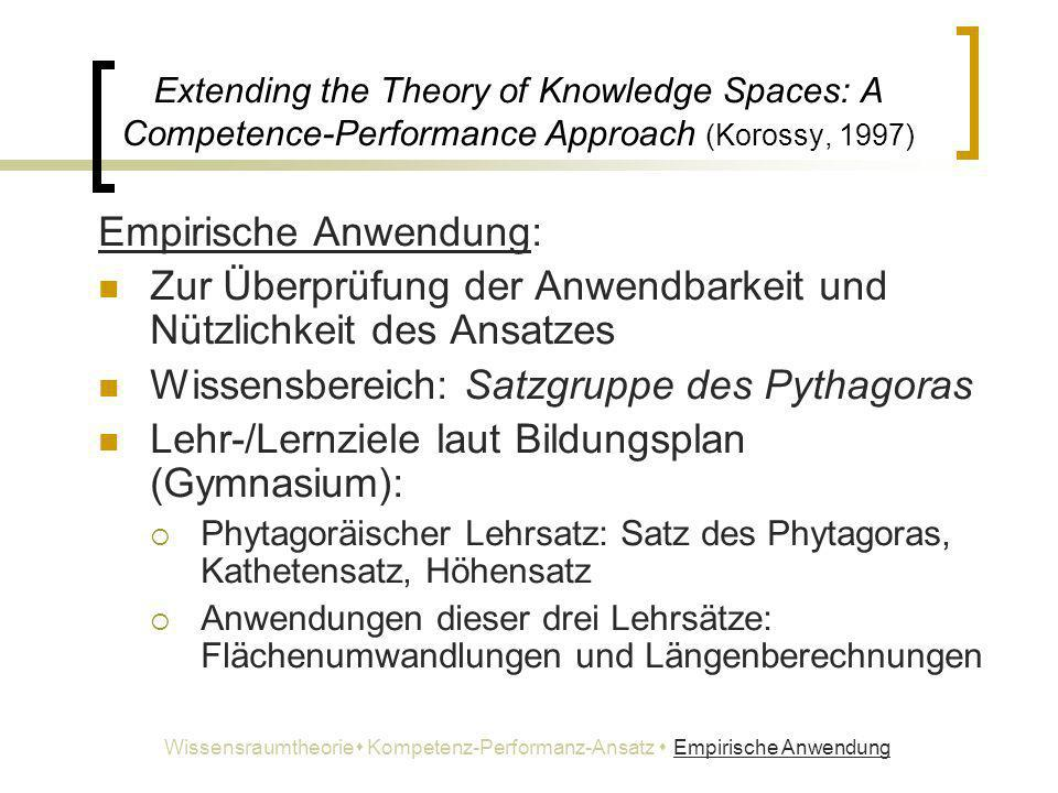Extending the Theory of Knowledge Spaces: A Competence-Performance Approach (Korossy, 1997) Empirische Anwendung: Zur Überprüfung der Anwendbarkeit un