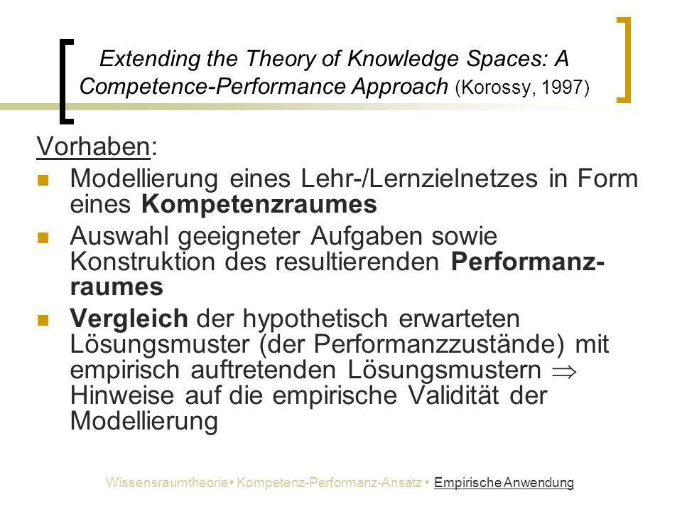 Extending the Theory of Knowledge Spaces: A Competence-Performance Approach (Korossy, 1997) Vorhaben: Modellierung eines Lehr-/Lernzielnetzes in Form