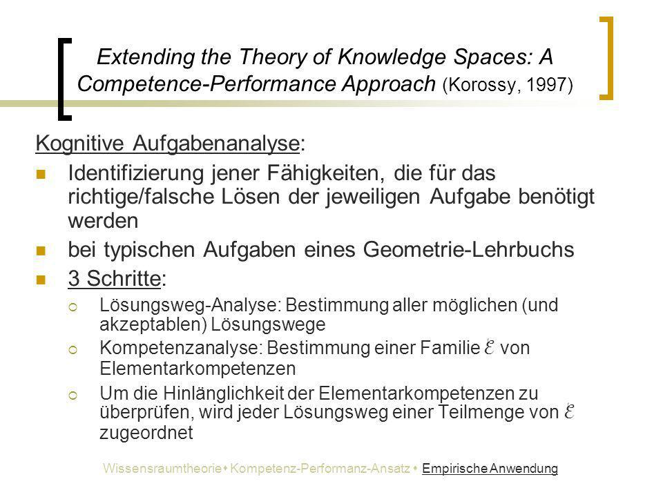 Extending the Theory of Knowledge Spaces: A Competence-Performance Approach (Korossy, 1997) Kognitive Aufgabenanalyse: Identifizierung jener Fähigkeit