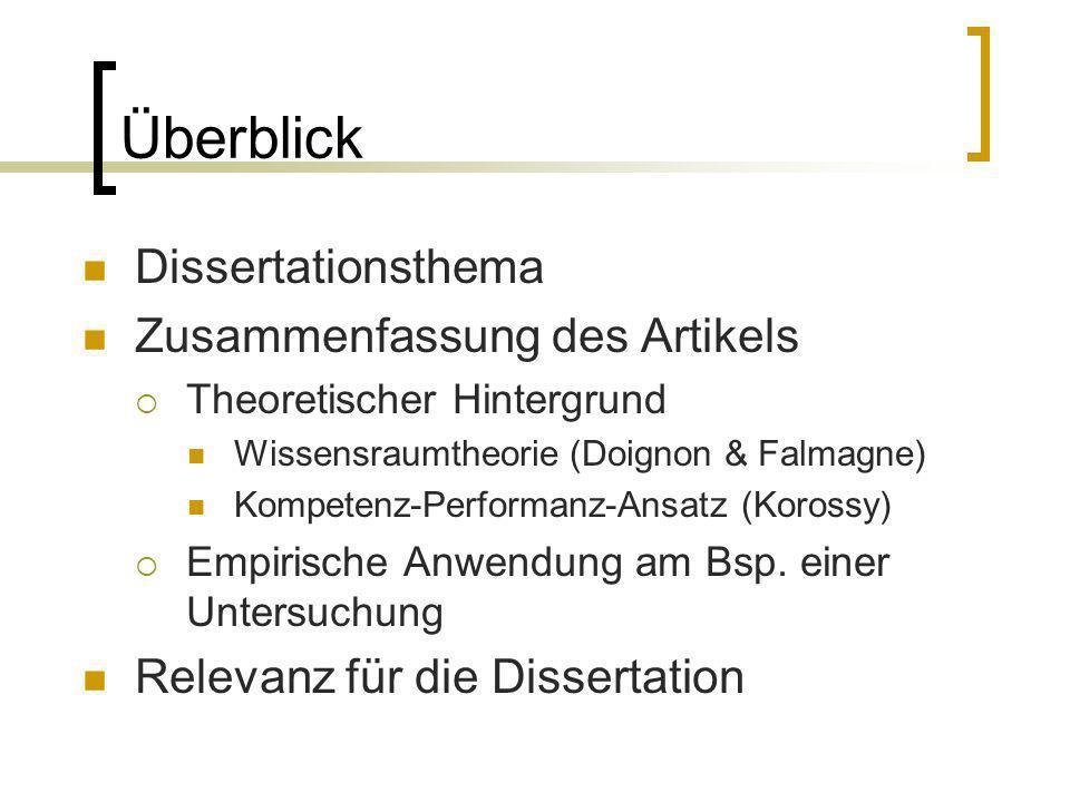 Überblick Dissertationsthema Zusammenfassung des Artikels Theoretischer Hintergrund Wissensraumtheorie (Doignon & Falmagne) Kompetenz-Performanz-Ansat