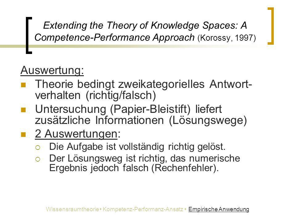 Extending the Theory of Knowledge Spaces: A Competence-Performance Approach (Korossy, 1997) Auswertung: Theorie bedingt zweikategorielles Antwort- ver