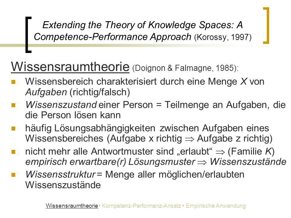 Extending the Theory of Knowledge Spaces: A Competence-Performance Approach (Korossy, 1997) Wissensraumtheorie (Doignon & Falmagne, 1985): Wissensbere
